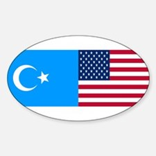 Uyghur and American Flag Oval Decal