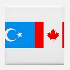Uyghur and Canadian Flag Tile Coaster