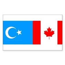 Uyghur and Canadian Flag Rectangle Decal