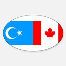 Uyghur and Canadian Flag Oval Decal