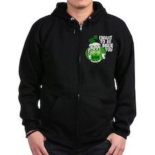 Green Beer Humor Zip Hoodie