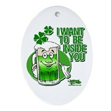 Green Beer Innuendo Oval Ornament