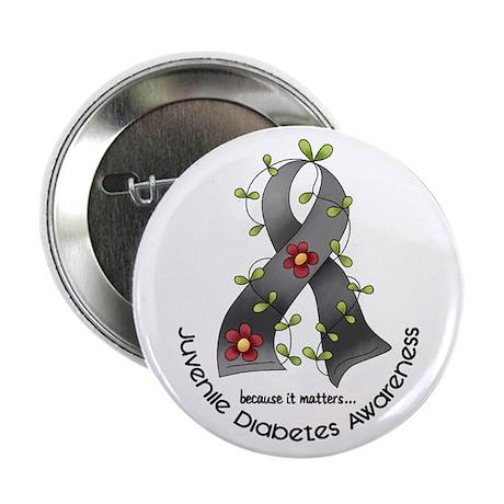 "Flower Ribbon JUVENILE DIABETES 2.25"" Button"