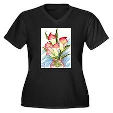 Cute Floral still life Women's Plus Size V-Neck Dark T-Shirt