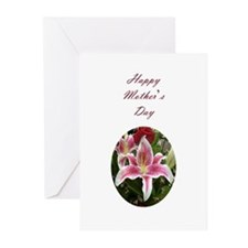 Pink lily flower with roses Greeting Cards (Pk of