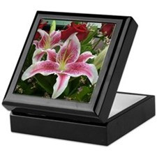 Pink lily flower with roses Keepsake Box