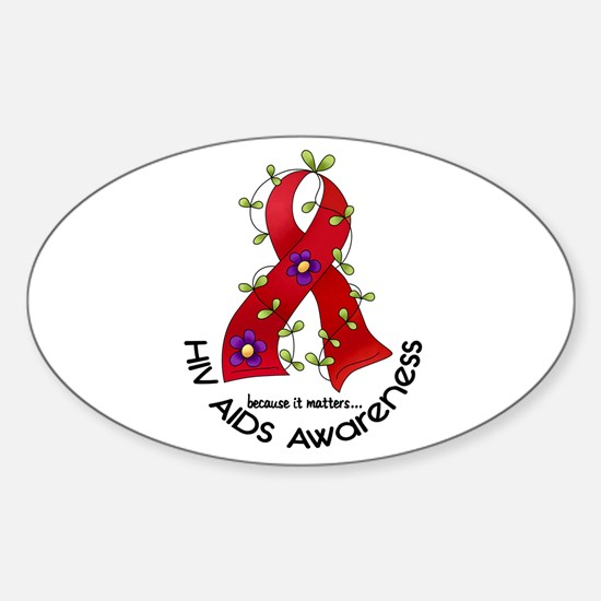 Flower Ribbon HIV AIDS Oval Decal