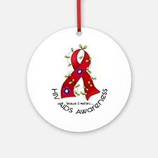 Flower Ribbon HIV AIDS Ornament (Round)