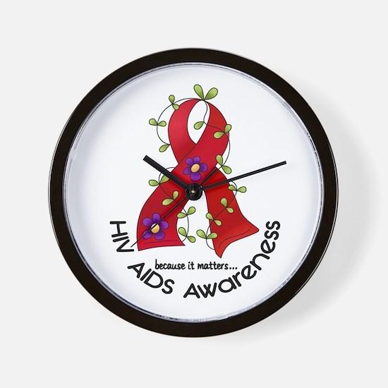 Flower Ribbon HIV AIDS Wall Clock