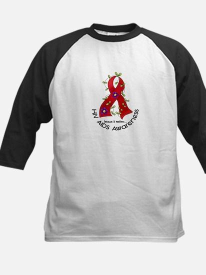 Flower Ribbon HIV AIDS Kids Baseball Jersey