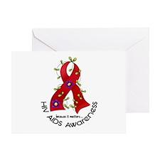Flower Ribbon HIV AIDS Greeting Card