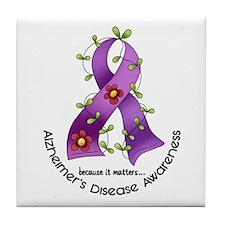 Flower Ribbon ALZHEIMERS Tile Coaster