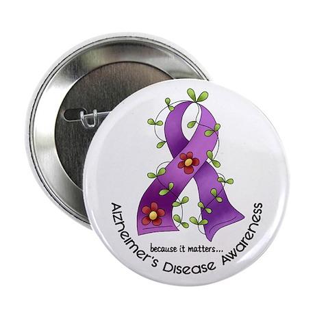 """Flower Ribbon ALZHEIMERS 2.25"""" Button (100 pack)"""