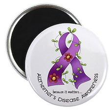 """Flower Ribbon ALZHEIMERS 2.25"""" Magnet (100 pack)"""