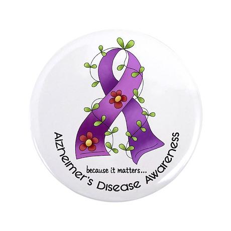 """Flower Ribbon ALZHEIMERS 3.5"""" Button (100 pack)"""
