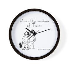 Proud Grandma of Twins BG Wall Clock