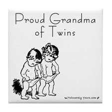 Proud Grandma of Twins BG Tile Coaster