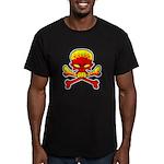 Flaming Skull & Crossbones Men's Fitted T-Shirt (d
