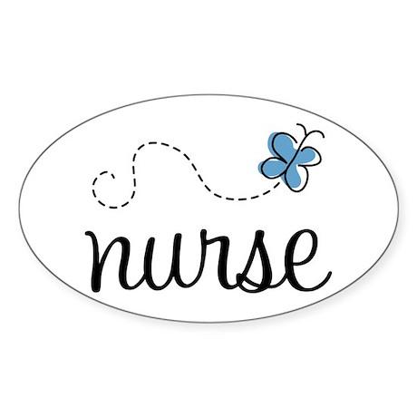 Nurse Gift Butterfly Sticker (Oval)