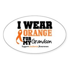 Leukemia Grandson Oval Decal