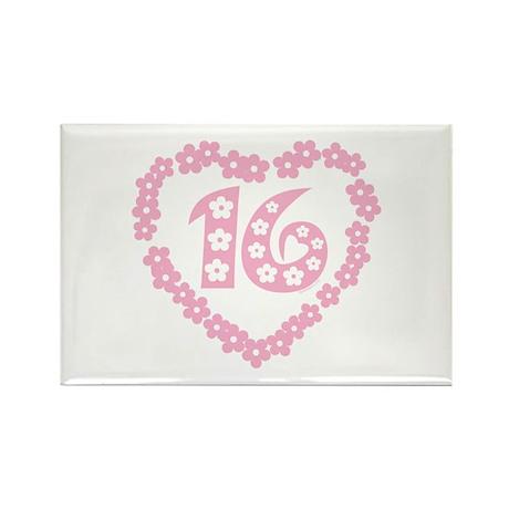 Sweet 16 Daisy Heart Rectangle Magnet