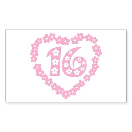 Sweet 16 Daisy Heart Rectangle Sticker