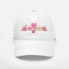 Sweet 16 Heart Flower Baseball Baseball Cap