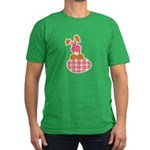 Cute Bunny With Plaid Easter Men's Fitted T-Shirt