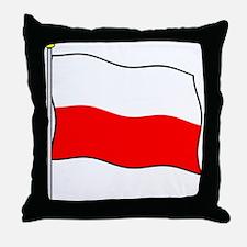 Poland Flagpole Throw Pillow