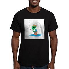 Fisherman Alien Men's Fitted T-Shirt (dark)