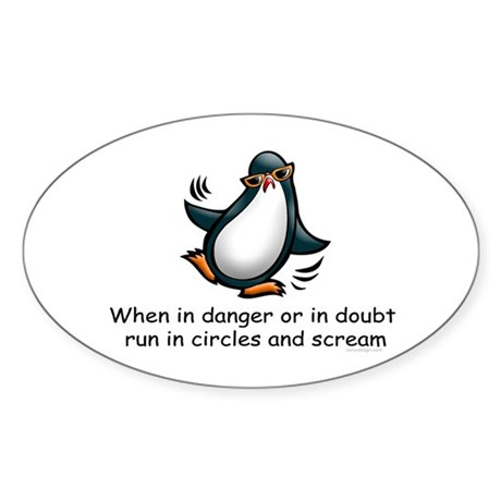 Screaming Penguin Oval Sticker