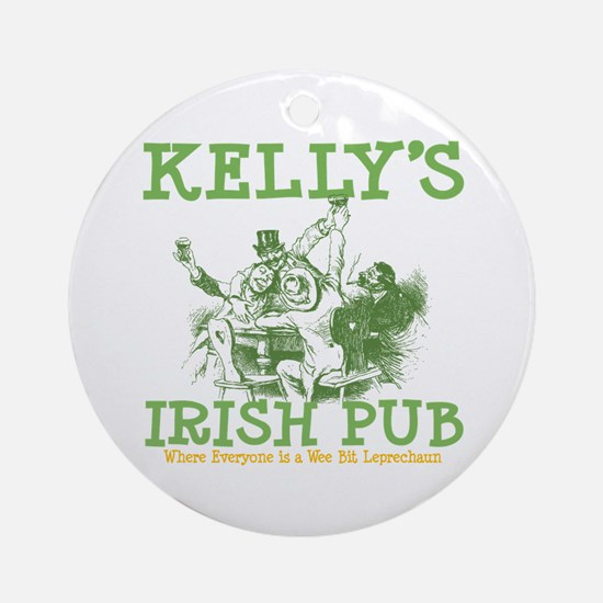 Kelly's Irish Pub Personalized Ornament (Round)
