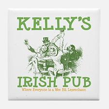 Kelly's Irish Pub Personalized Tile Coaster