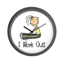 Female I Work Out Wall Clock