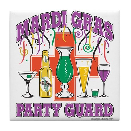 Mardi Gras Party Guard Tile Coaster