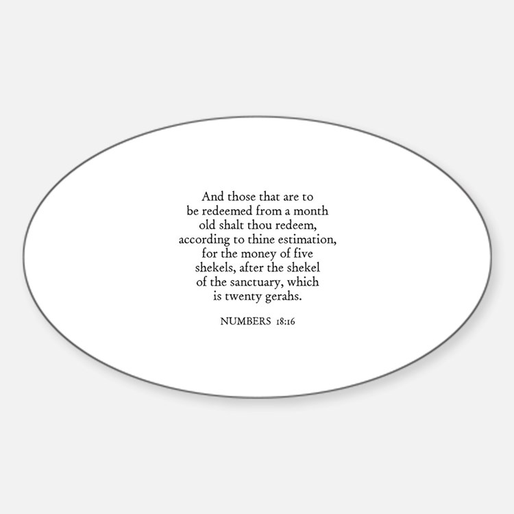 NUMBERS 18:16 Oval Decal