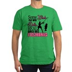 Real Girls Go Fishing Men's Fitted T-Shirt (dark)