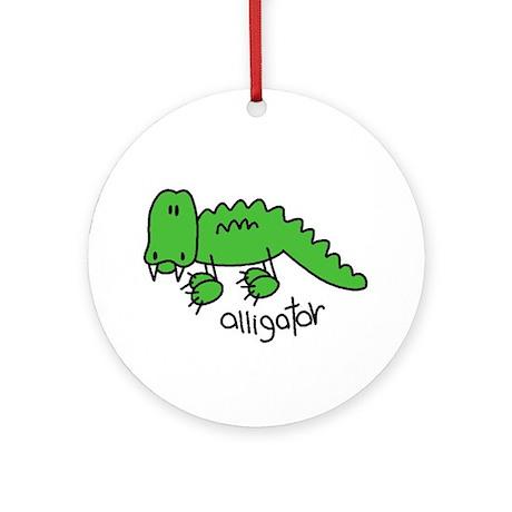 Stick Figure Alligator Ornament (Round)