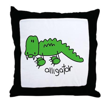 Stick Figure Alligator Throw Pillow