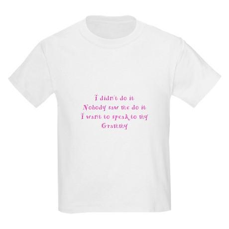 Didn't Do It Grammy Pink Kids Light T-Shirt