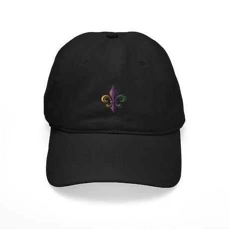 Mardi Gras Fleur De Lis Black Cap