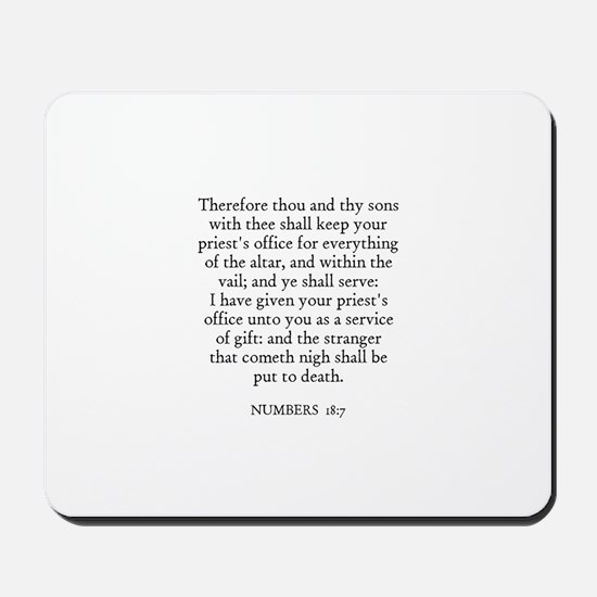 NUMBERS  18:7 Mousepad