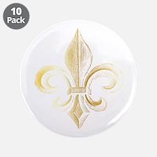 """Gold Fleur De Lis 3.5"""" Button (10 pack)"""