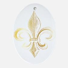 Gold Fleur De Lis Oval Ornament