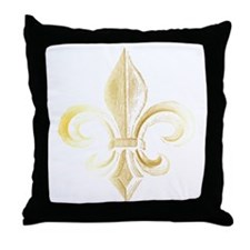 Gold Fleur De Lis Throw Pillow