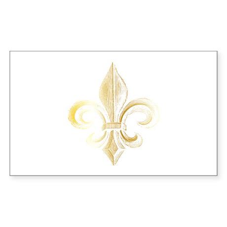 Gold Fleur De Lis Rectangle Sticker