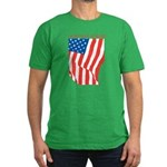 American Flag Long May it Wav Men's Fitted T-Shirt