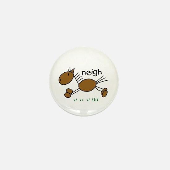 Brown Horse Mini Button