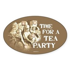 Time for a Tea Party Oval Decal