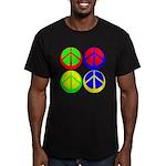 Men's Vivid Color Peace Sign Black T-Shirt